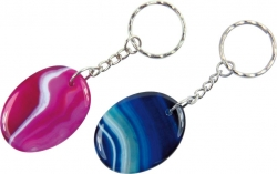 Keyring Agate colored 30x40mm