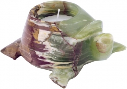Candle Light Turtle 10 cm, Onyx Marble