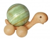 Rolling wooden Turtle XXL with 10 cm Onyx Marble ball