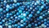 Loose strand colored Agate ball 6 mm blue, 10 pieces